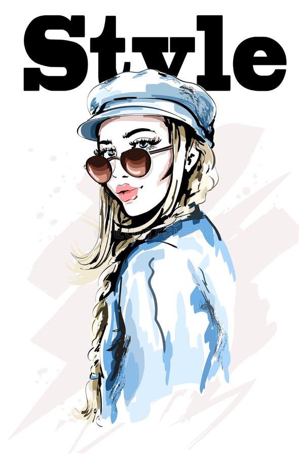 Mujer joven hermosa en casquillo elegante Mujer dibujada mano de la moda Chica joven con las gafas de sol bosquejo libre illustration