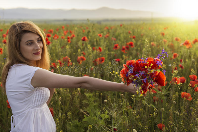 Mujer joven hermosa en el campo de la amapola que sostiene un ramo de poppie fotografía de archivo libre de regalías
