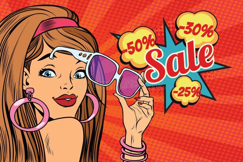 Mujer joven hermosa en gafas de sol, venta de la sorpresa ilustración del vector