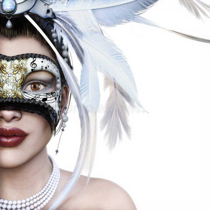 Mujer joven hermosa en la máscara veneciana misteriosa blanca en un fondo blanco con el sitio para el espacio del texto o de la c ilustración del vector