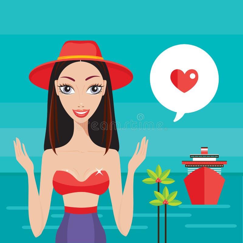 Mujer joven hermosa en la playa cerca del concepto de las vacaciones de verano del mar ilustración del vector