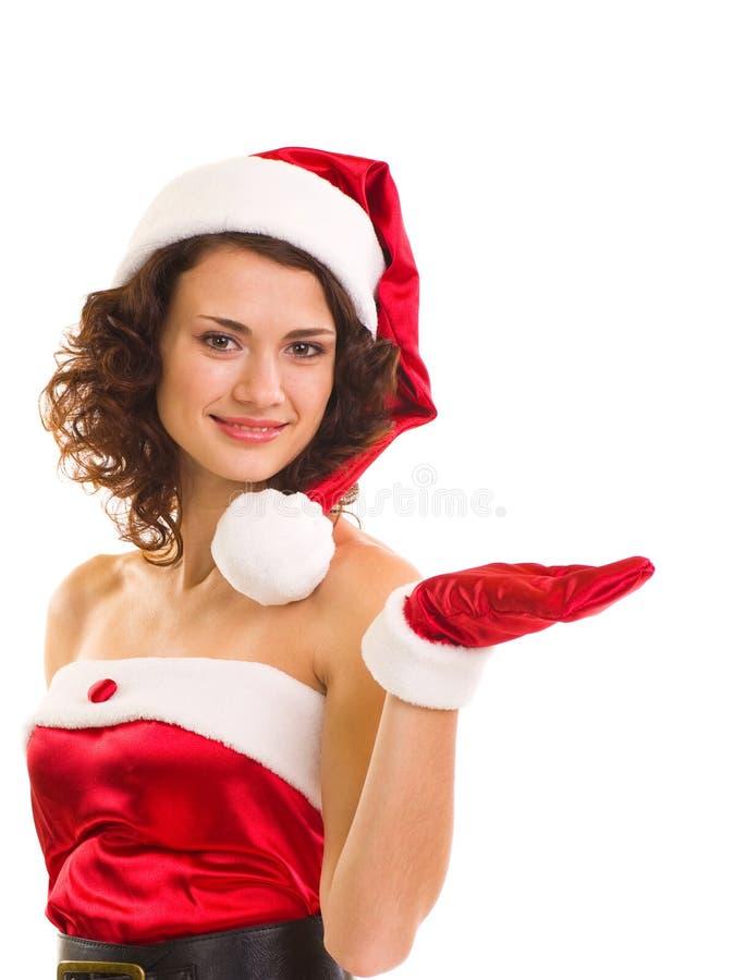 Mujer joven hermosa en la ropa de Papá Noel foto de archivo libre de regalías