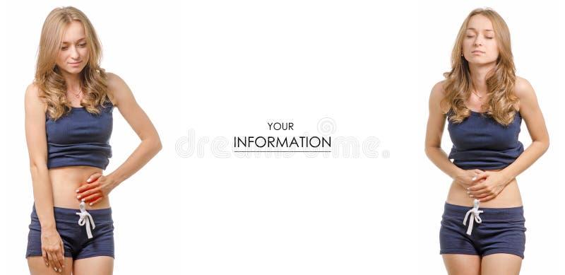 Mujer joven hermosa en modelo determinado de la medicina sana abdominal del dolor de la camiseta y de los pantalones cortos foto de archivo