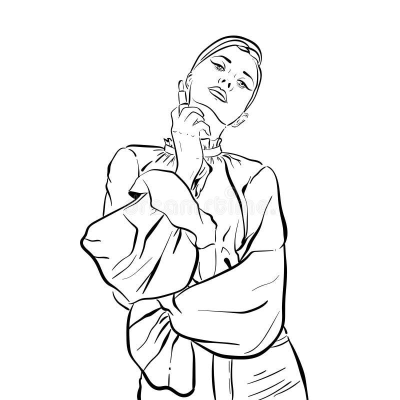 Mujer joven hermosa en pantalones bosquejo Ejemplo del vector aislado en blanco libre illustration