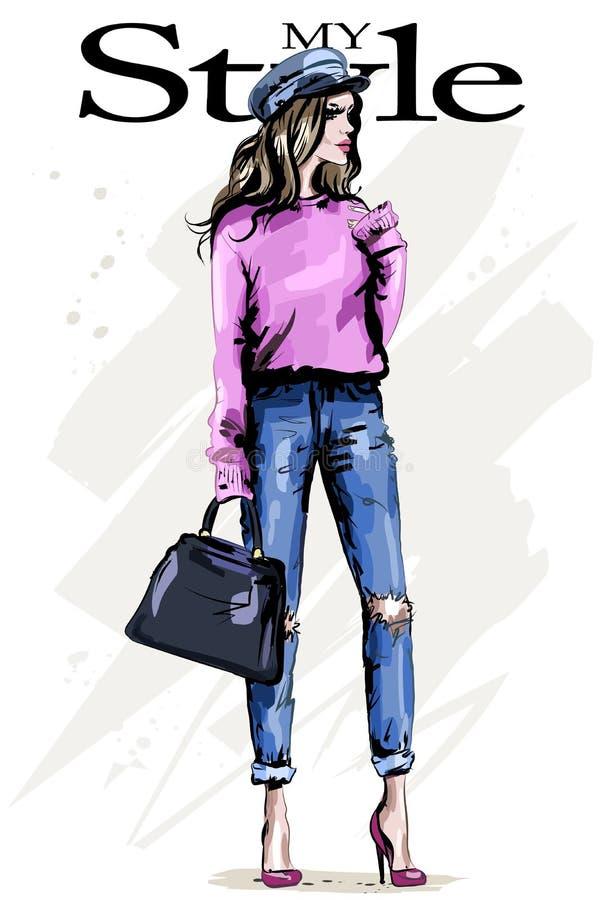 Mujer joven hermosa en ropa elegante Mujer de la manera en casquillo Muchacha del pelo rubio con el bolso libre illustration