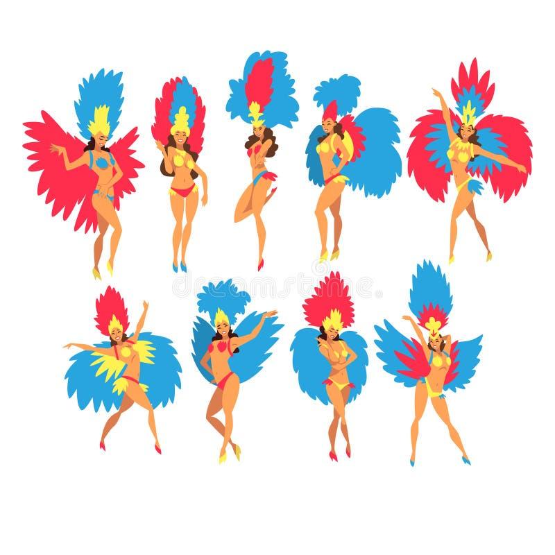 Mujer joven hermosa en sistema colorido del baile de los trajes del festival, brasileño Samba Dancers, Rio de Janeiro Carnival Ve stock de ilustración