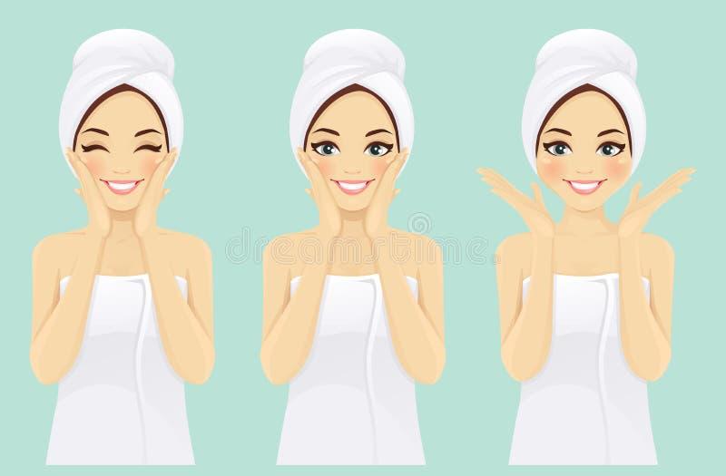 Mujer joven hermosa en toalla ilustración del vector