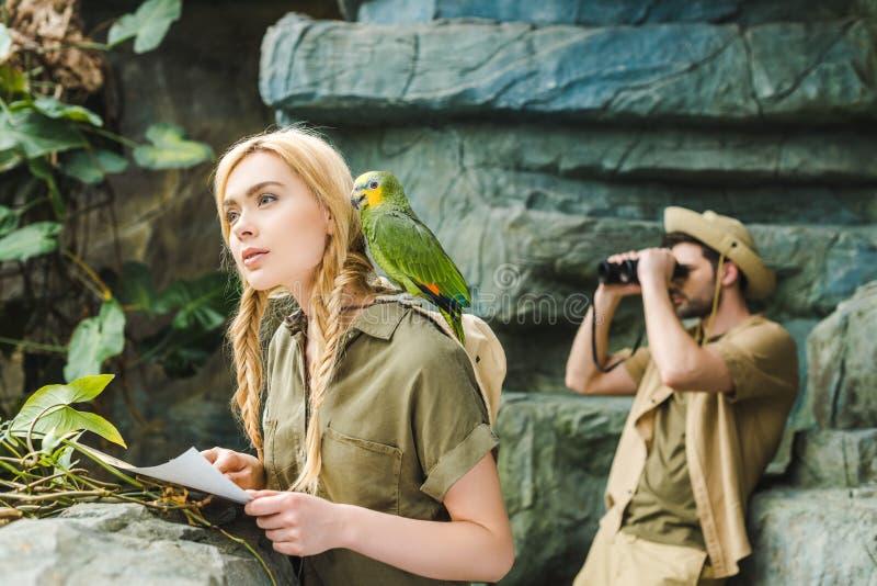 mujer joven hermosa en traje del safari con el loro y mapa que navegan en selva mientras que su novio fotos de archivo libres de regalías