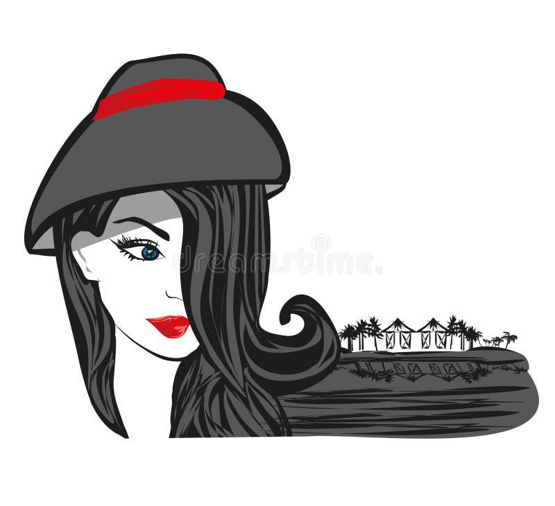 Mujer joven hermosa en un centro turístico tropical ilustración del vector