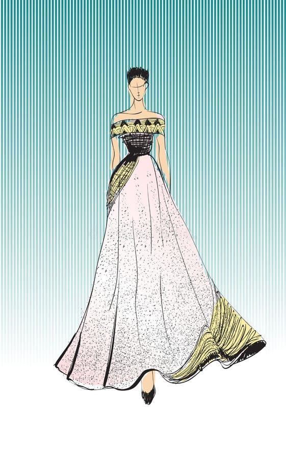 Mujer joven hermosa en un vestido de noche Muchacha dibujada mano de la moda Presentaci?n del modelo de manera bosquejo stock de ilustración
