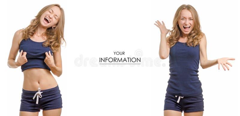 Mujer joven hermosa en una camiseta y un modelo determinado de la vida sana del deporte de la felicidad de los pantalones cortos fotografía de archivo