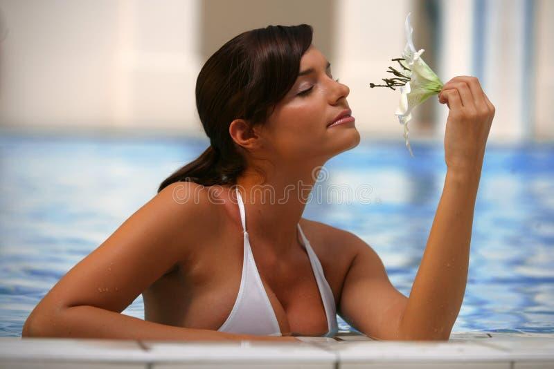 Mujer joven hermosa en una piscina imagen de archivo