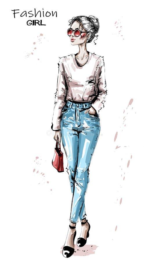 Mujer joven hermosa exhausta de la mano con el bolso rojo Muchacha elegante elegante en gafas de sol Mirada de la mujer de la mod ilustración del vector