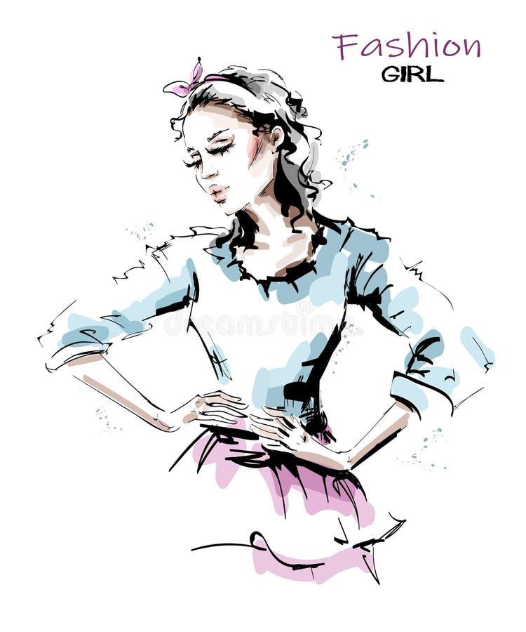 Mujer joven hermosa exhausta de la mano con los brazos en jarras Mirada de la mujer de la moda Muchacha bonita elegante con el pe ilustración del vector