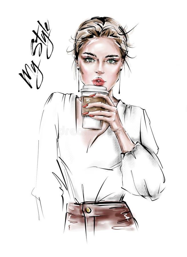 Mujer joven hermosa exhausta de la mano con la taza de café plástica en su mano Muchacha con estilo Mirada de la mujer de la moda ilustración del vector