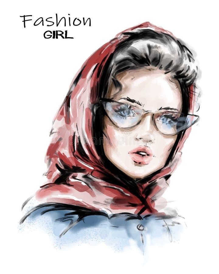 Mujer joven hermosa exhausta de la mano en bufanda roja en su cabeza Muchacha elegante elegante Mirada de la mujer de la moda bos libre illustration