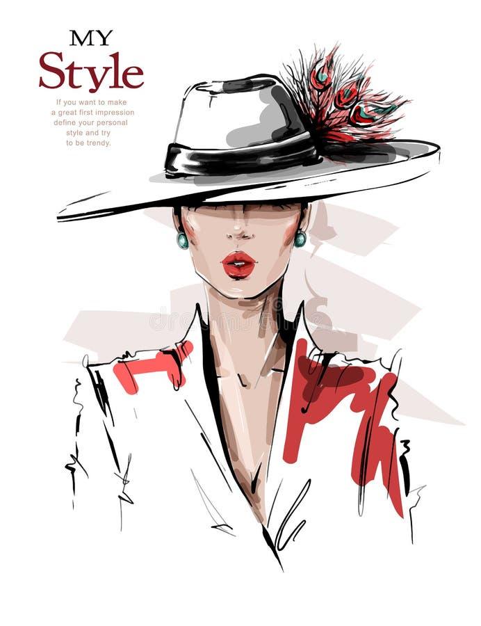 Mujer joven hermosa exhausta de la mano en sombrero con las plumas Muchacha elegante elegante Mirada de la mujer de la moda bosqu ilustración del vector