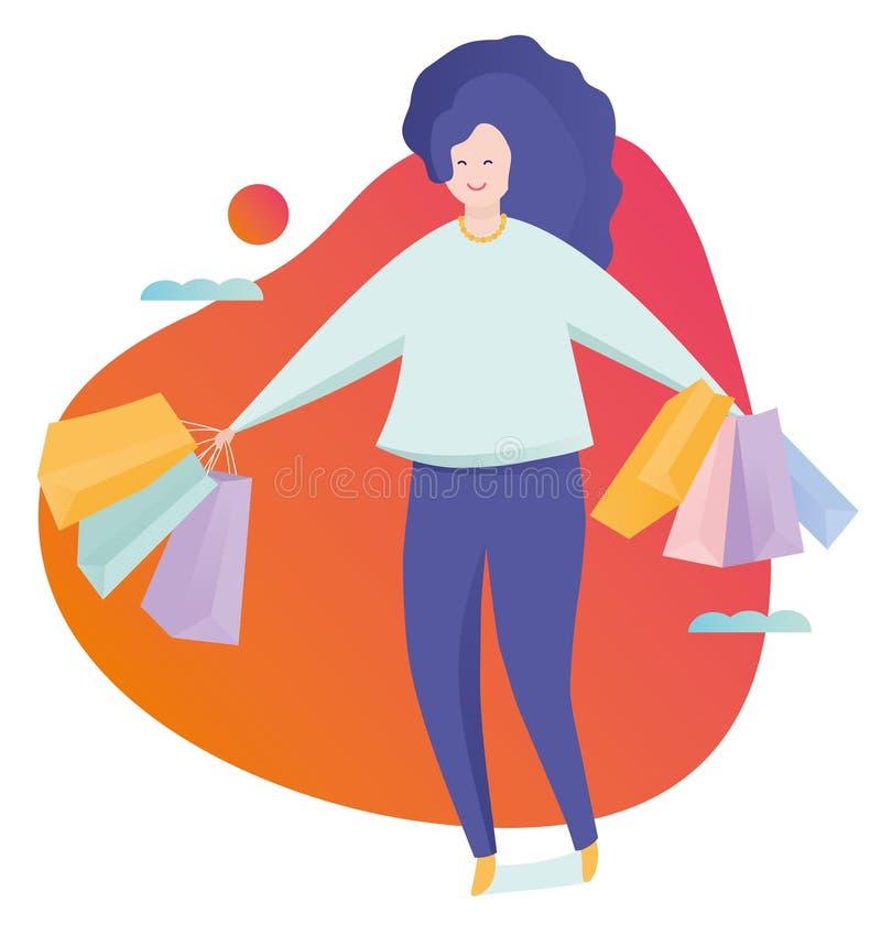 Mujer joven hermosa muy feliz en ropa informal con los panieres Ejemplo colorido del vector en historieta plana libre illustration