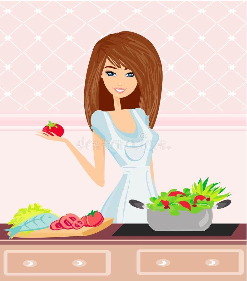 Mujer joven hermosa que cocina verduras frescas. ilustración del vector