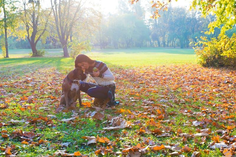 Mujer joven hermosa que juega con su perro en el bosque imagenes de archivo
