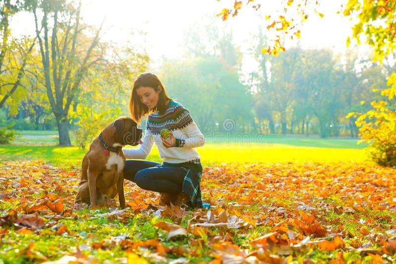 Mujer joven hermosa que juega con su perro en el bosque foto de archivo libre de regalías