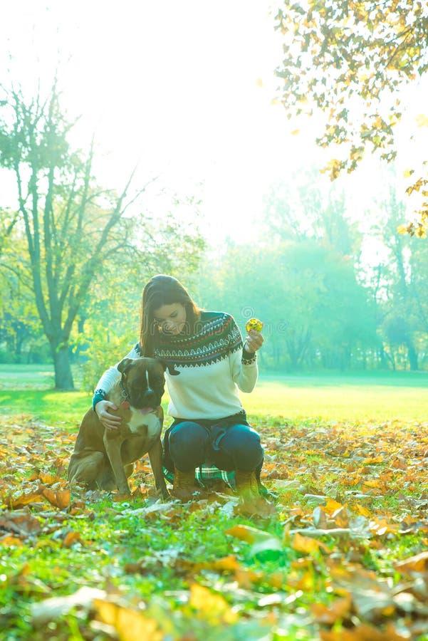 Mujer joven hermosa que juega con su perro en el bosque foto de archivo