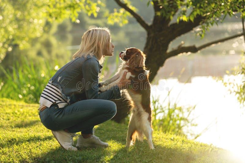 Mujer joven hermosa que juega con su perro en el parque en el otoño imagen de archivo