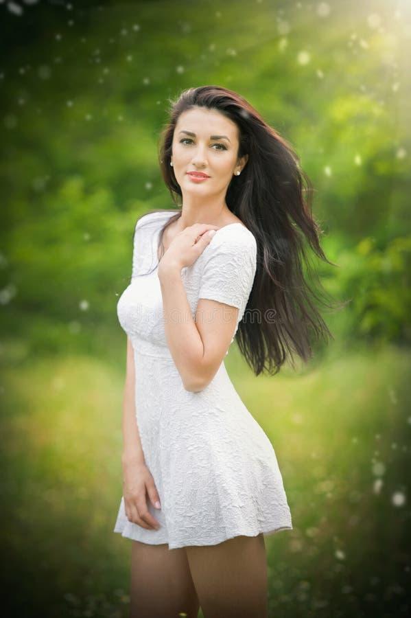Mujer joven hermosa que presenta en un prado del verano Retrato de la muchacha morena atractiva con el pelo largo que se relaja e fotos de archivo