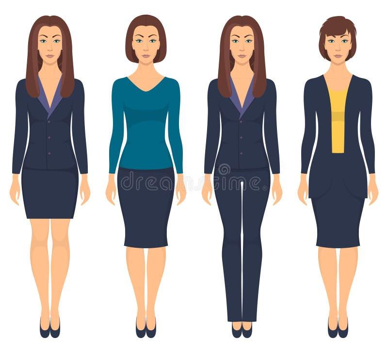 Mujer joven hermosa que se coloca en crecimiento completo en diversa ropa formal Mujer en ropa elegante y casual Guardarropa bási ilustración del vector