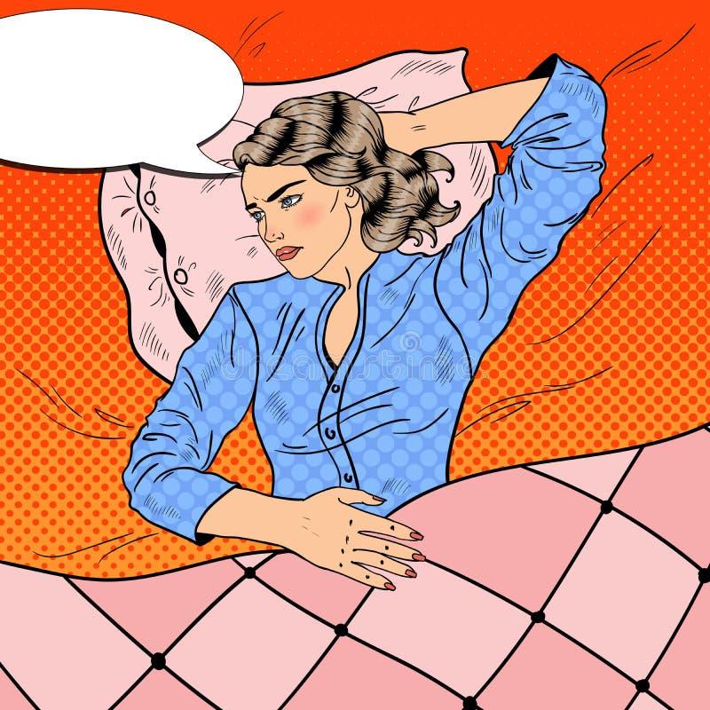 Mujer joven insomne que miente en cama insomnio Ejemplo retro del arte pop ilustración del vector