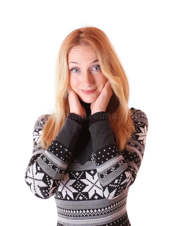 Mujer joven linda con la expresión que se pregunta fotografía de archivo libre de regalías