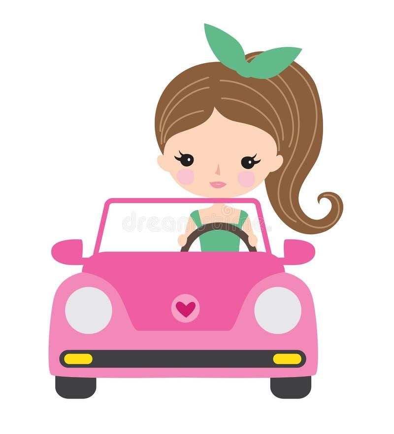 Mujer joven o adolescente que conduce un coche ilustración del vector