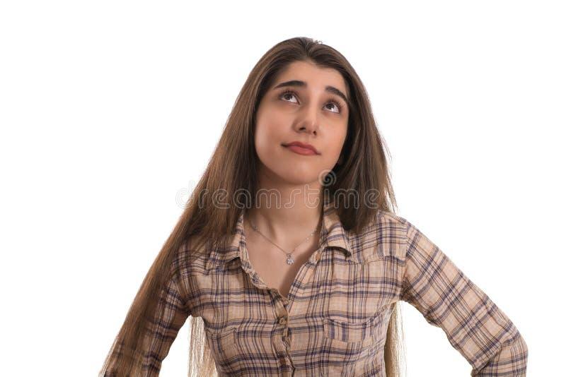 Mujer joven o muchacha adolescente que mira para arriba imagen de archivo