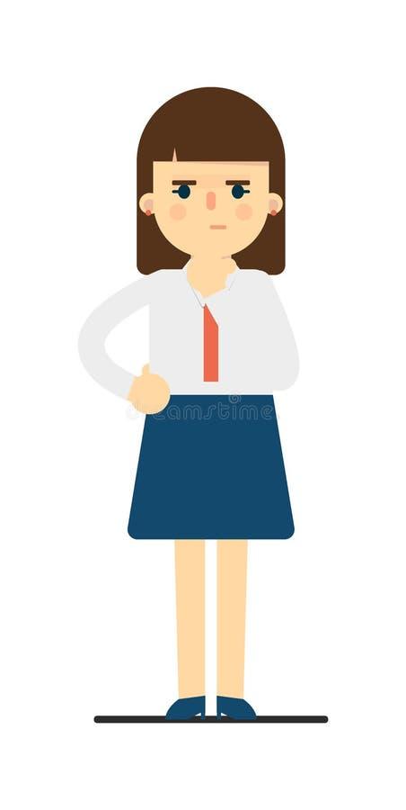 Mujer joven pensativa en carácter uniforme stock de ilustración