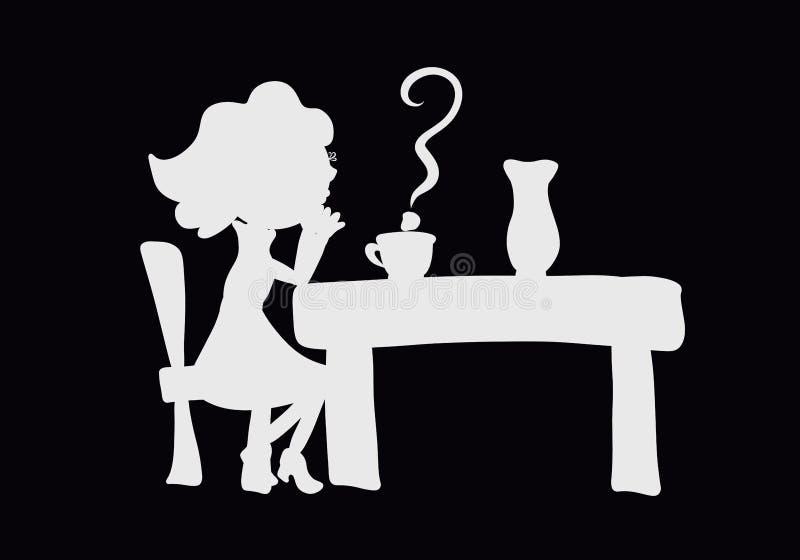 Mujer joven pensativa que se sienta en la tabla, signo de interrogación sobre el A.C. stock de ilustración