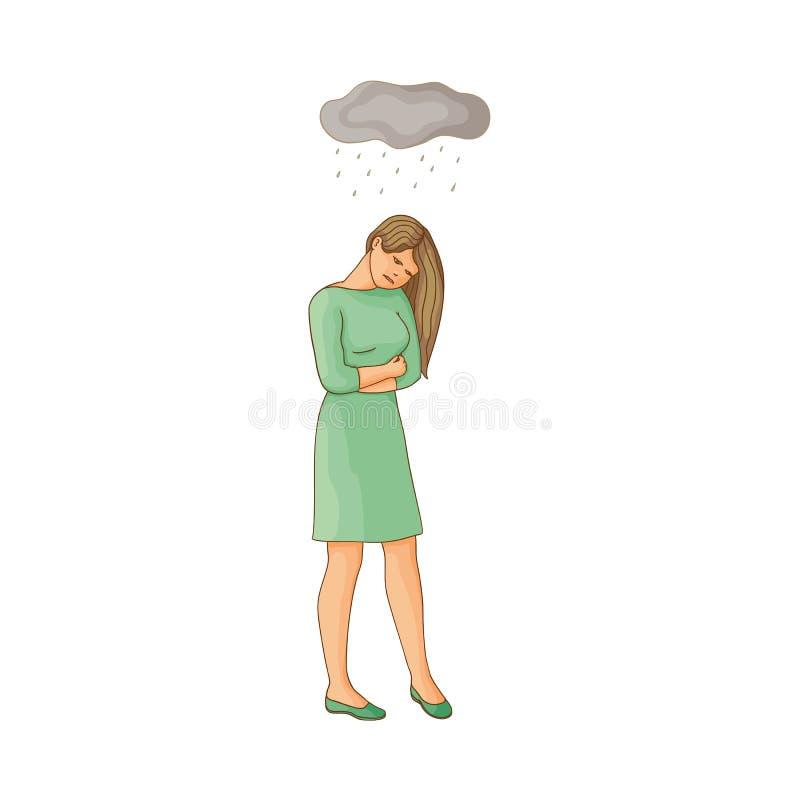 Mujer joven plana del vector que sufre de la depresión libre illustration