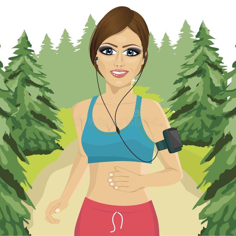 Mujer joven que activa en bosque con el brazal del smartphone que escucha la lista de temas de la música en el teléfono móvil app libre illustration