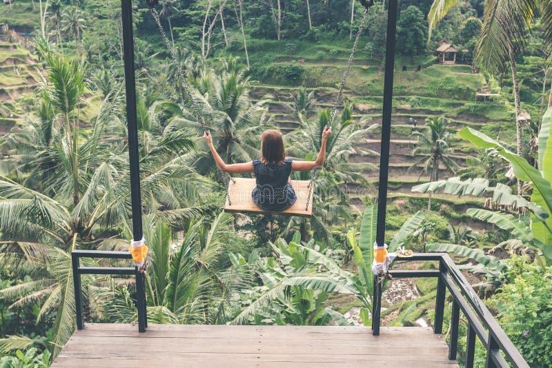 Mujer joven que balancea en la selva tropical de la selva de la isla de Bali, Indonesia Oscilación en las zonas tropicales fotografía de archivo libre de regalías