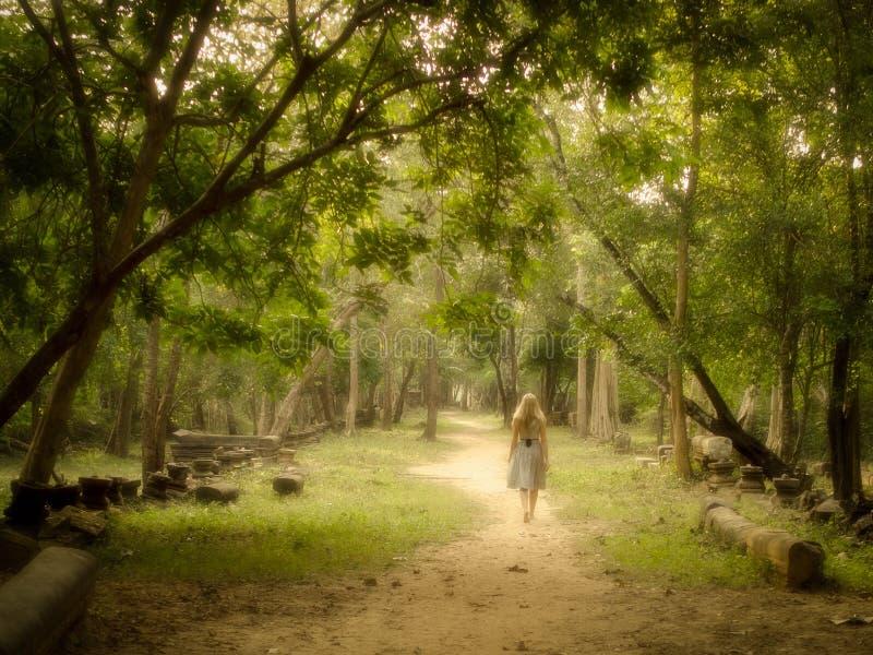 Mujer joven que camina en la trayectoria misteriosa en bosque encantado imagenes de archivo