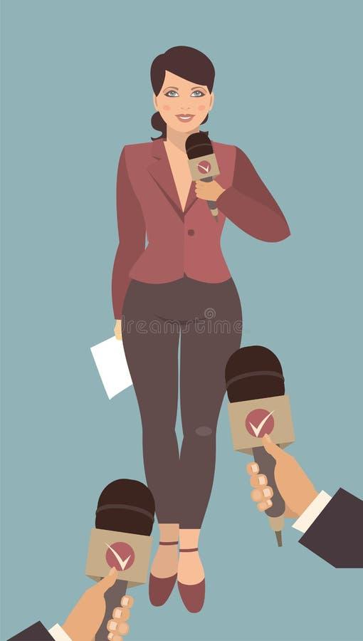 Mujer joven que da una entrevista ilustración del vector
