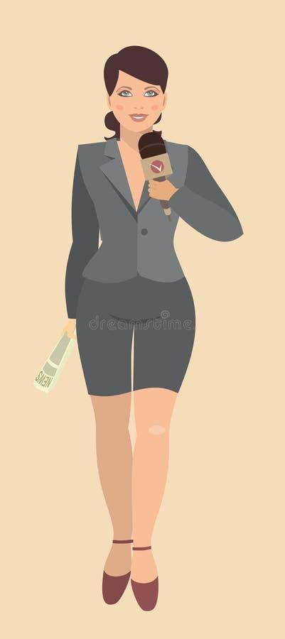Mujer joven que da una entrevista libre illustration