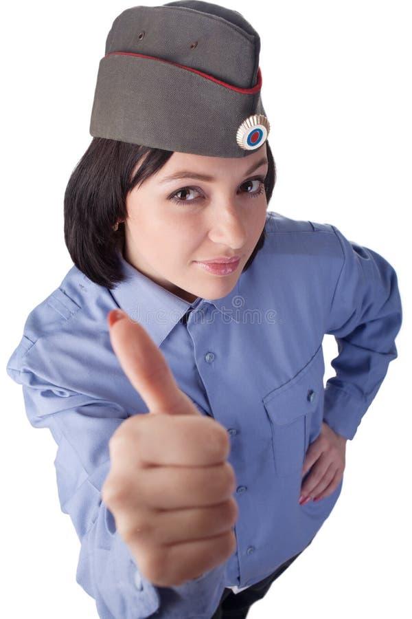 Mujer joven que desgasta un uniforme ruso de la policía fotografía de archivo libre de regalías