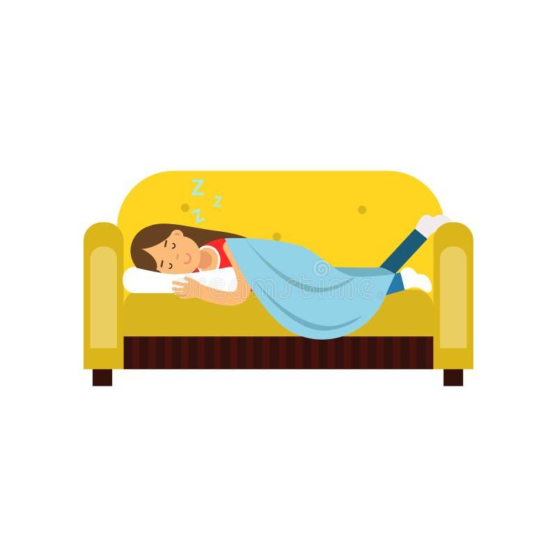 Mujer joven que duerme en el sofá debajo de la manta, ejemplo relajante del vector de la historieta de la persona stock de ilustración