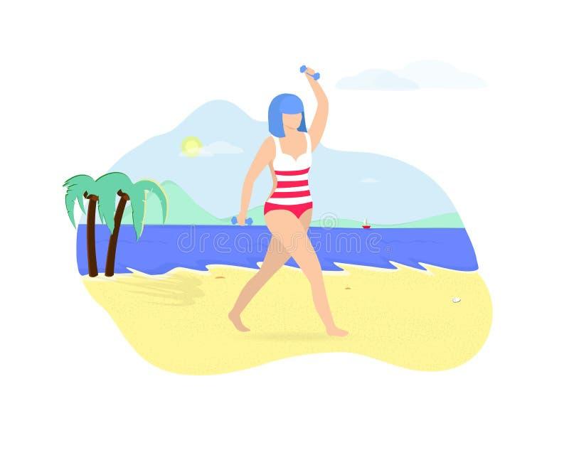 Mujer joven que ejercita con pesas de gimnasia en la playa ilustración del vector