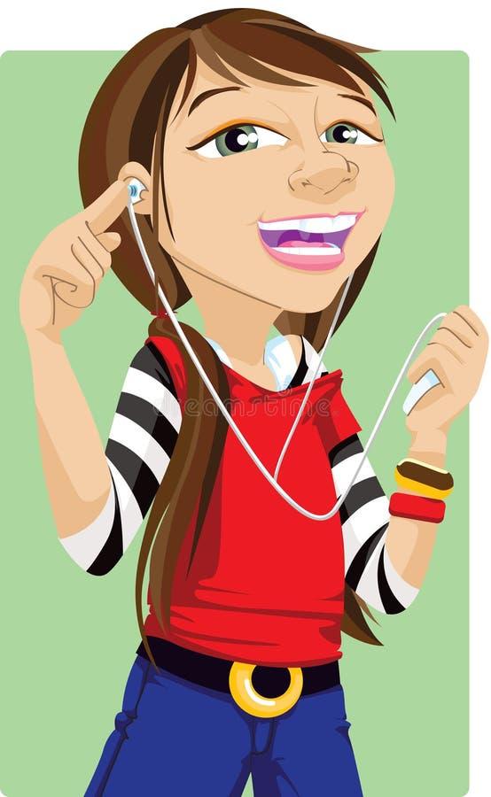 Mujer joven que escucha la música ilustración del vector