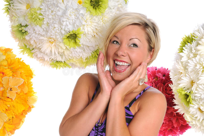 Mujer joven que expresa felicidad foto de archivo libre de regalías