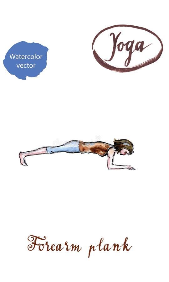 Mujer joven que hace actitud del tablón del antebrazo en yoga stock de ilustración