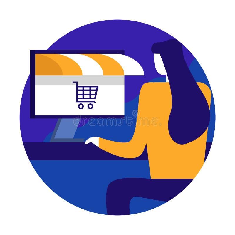 Mujer joven que hace compras en línea usando la mesa del ordenador Tienda en línea stock de ilustración