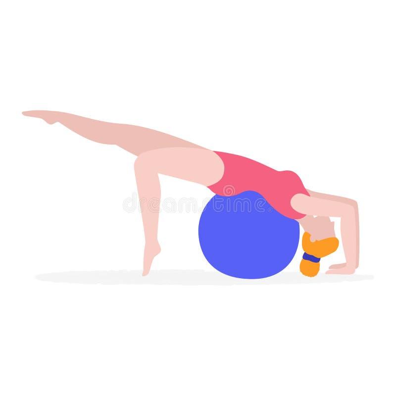 Mujer joven que hace ejercicio físico con el ejemplo plano del vector de la bola de la aptitud aislado en el fondo blanco muchach ilustración del vector