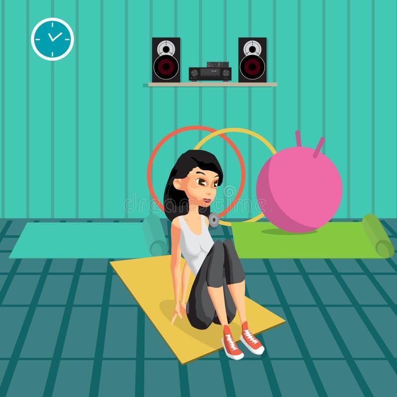 Mujer joven que hace ejercicios para construir los músculos abdominales libre illustration